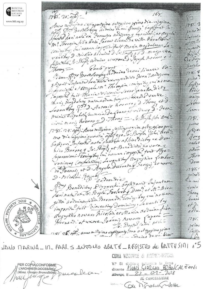Partida de Nacimiento de Don Domenico Gorlero, 1781 - Banco de ...